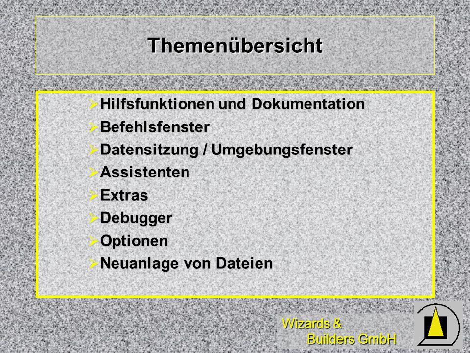 Wizards & Builders GmbH Hilfefunktionen Hilfethemen(Querverweise) Hilfethemen(Querverweise) Online-Dokumentation (Entpacken) Online-Dokumentation (Entpacken) Solution Samples (Pfade) Solution Samples (Pfade) Component Gallery (*)(VFP 6.0) Component Gallery (*)(VFP 6.0) Info (MS Info) Info (MS Info)