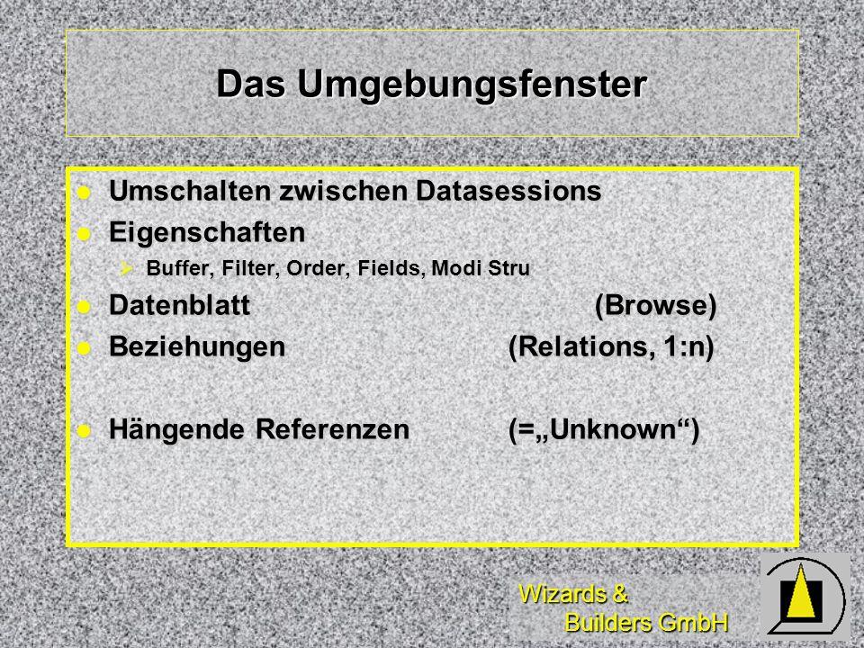 Wizards & Builders GmbH Datenbank-Assistenten (1) Tabellen(Beispieltabellen) Tabellen(Beispieltabellen) Datenbanken (mit Relationen) Datenbanken (mit Relationen) Abfragen (Views einfacher mit Designer) Abfragen (Views einfacher mit Designer) Query, Remote, Lokal, Diagramm, Kreuztabelle Query, Remote, Lokal, Diagramm, Kreuztabelle Connections(Client/Server) Connections(Client/Server) Upsizing(Client/Server) Upsizing(Client/Server) Oracle, SQL-Server-Upsizing (Achtung: Views!) Oracle, SQL-Server-Upsizing (Achtung: Views!)