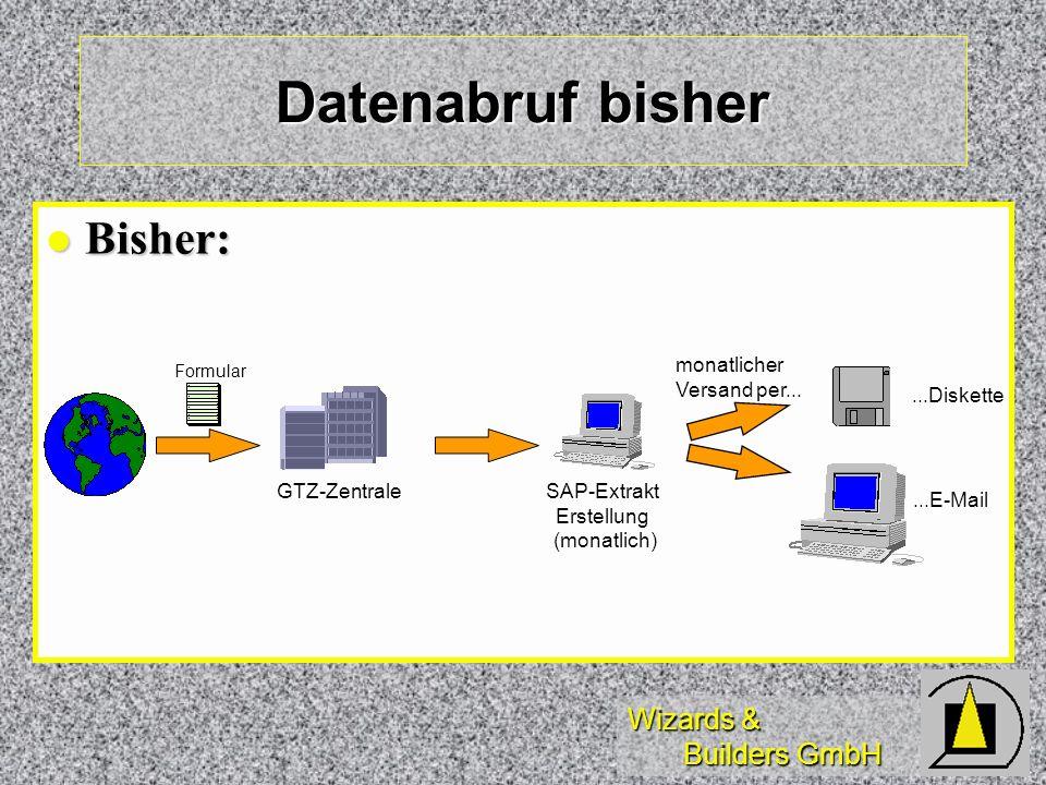 Wizards & Builders GmbH Bisher: Bisher: Datenabruf bisher GTZ-ZentraleSAP-Extrakt Erstellung (monatlich)...Diskette...E-Mail monatlicher Versand per..