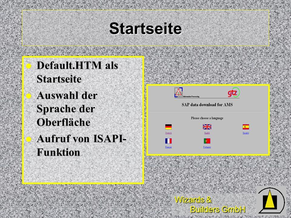 Wizards & Builders GmbH Startseite Default.HTM als Startseite Default.HTM als Startseite Auswahl der Sprache der Oberfläche Auswahl der Sprache der Ob