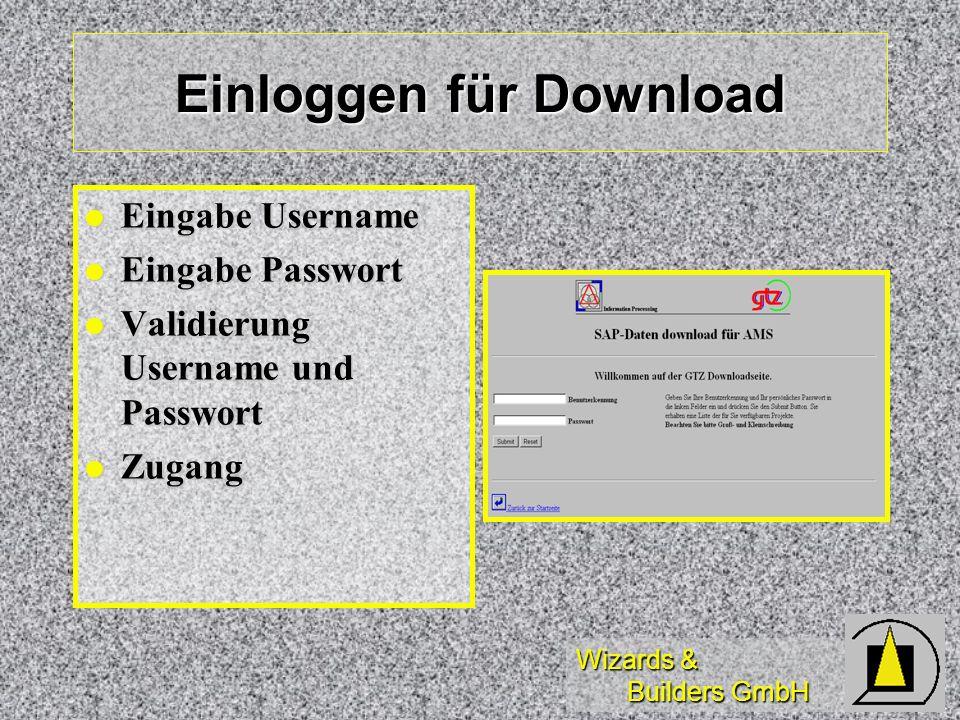Wizards & Builders GmbH Einloggen für Download Eingabe Username Eingabe Username Eingabe Passwort Eingabe Passwort Validierung Username und Passwort V