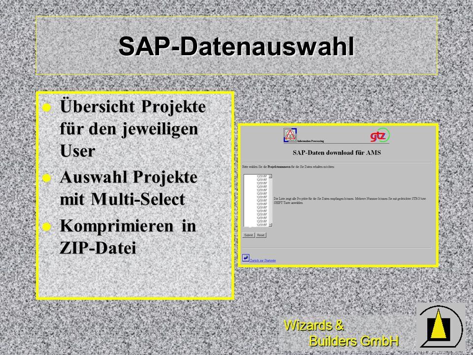 Wizards & Builders GmbH SAP-Datenauswahl Übersicht Projekte für den jeweiligen User Übersicht Projekte für den jeweiligen User Auswahl Projekte mit Mu
