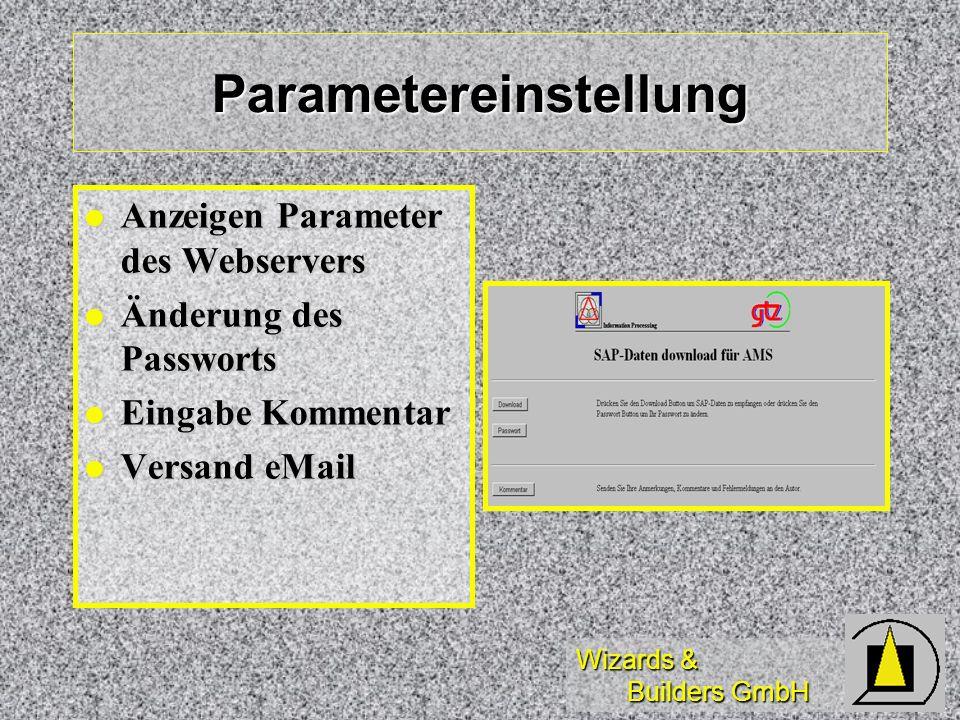 Wizards & Builders GmbH Parametereinstellung Anzeigen Parameter des Webservers Anzeigen Parameter des Webservers Änderung des Passworts Änderung des P