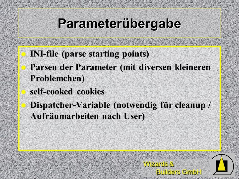 Wizards & Builders GmbH Parameterübergabe INI-file (parse starting points) INI-file (parse starting points) Parsen der Parameter (mit diversen kleiner