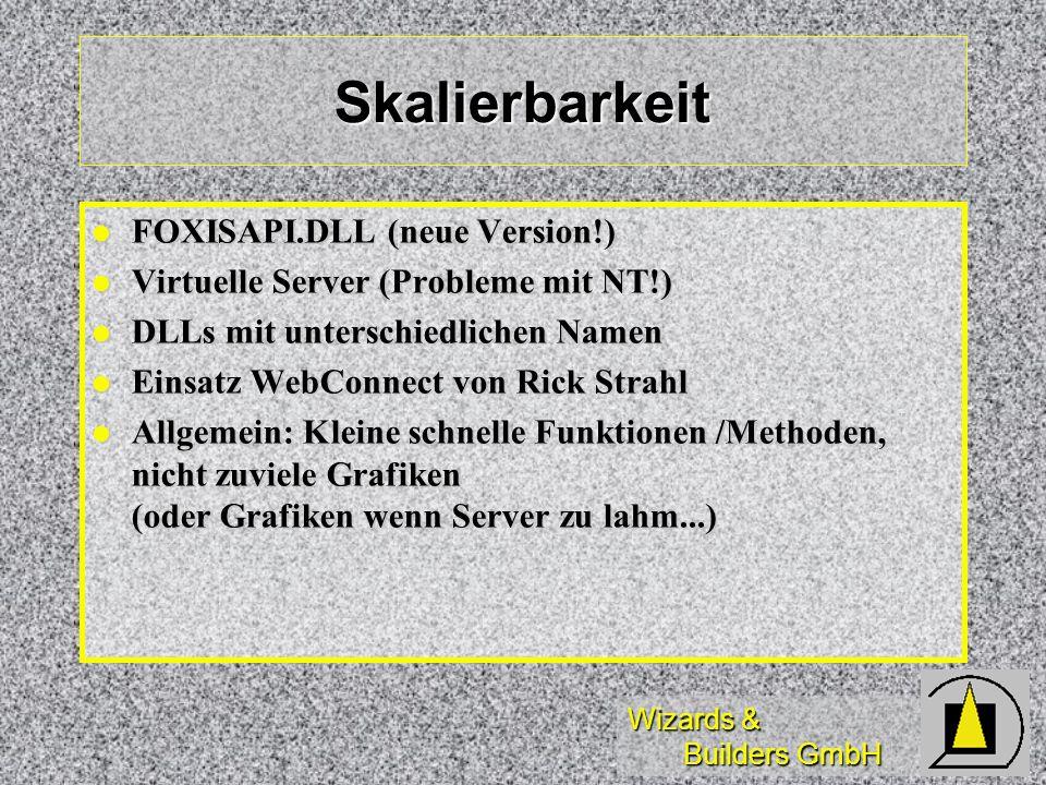 Wizards & Builders GmbH Skalierbarkeit FOXISAPI.DLL (neue Version!) FOXISAPI.DLL (neue Version!) Virtuelle Server (Probleme mit NT!) Virtuelle Server