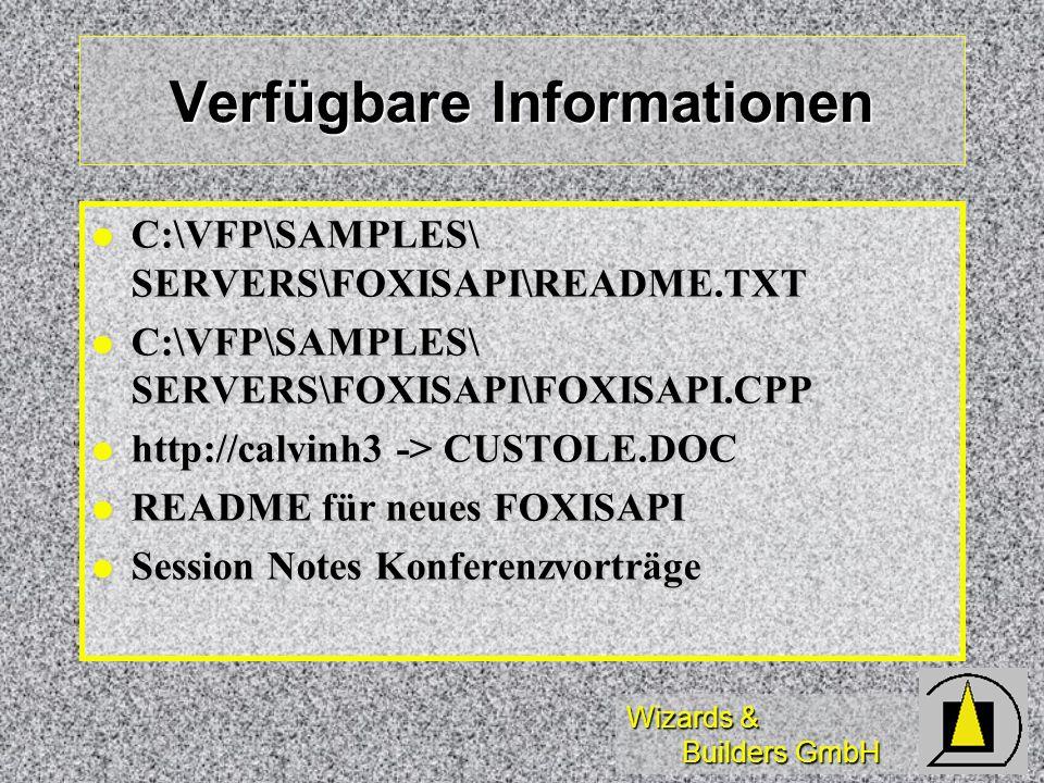 Wizards & Builders GmbH Terminologie INETINFOInternet Server Steuerung INETINFOInternet Server Steuerung \SCRIPTSScript-Verzeichnis \SCRIPTSScript-Verzeichnis \WWWROOTHauptverzeichnis für WWW \WWWROOTHauptverzeichnis für WWW ISAPIInternetServer API (NSAPI) ISAPIInternetServer API (NSAPI) FOXISAPIFoxPro InternetServer API FOXISAPIFoxPro InternetServer API INETMGRInternet Service Manager INETMGRInternet Service Manager REGSVR32Registry-Eintragung REGSVR32Registry-Eintragung OLE2VW32OLE-Registry-Viewer OLE2VW32OLE-Registry-Viewer DCOMCNFGDCOM-Konfiguration DCOMCNFGDCOM-Konfiguration