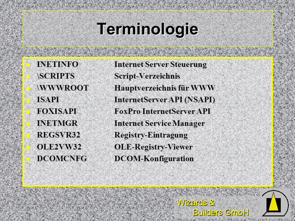 Wizards & Builders GmbH Terminologie INETINFOInternet Server Steuerung INETINFOInternet Server Steuerung \SCRIPTSScript-Verzeichnis \SCRIPTSScript-Ver