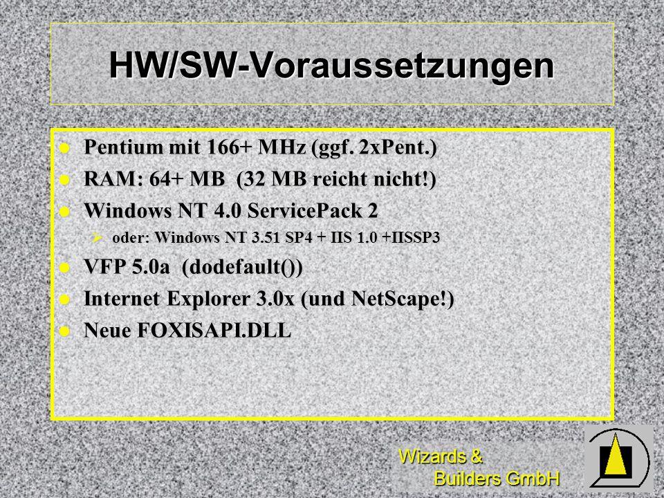 Wizards & Builders GmbH HW/SW-Voraussetzungen Pentium mit 166+ MHz (ggf. 2xPent.) Pentium mit 166+ MHz (ggf. 2xPent.) RAM: 64+ MB (32 MB reicht nicht!