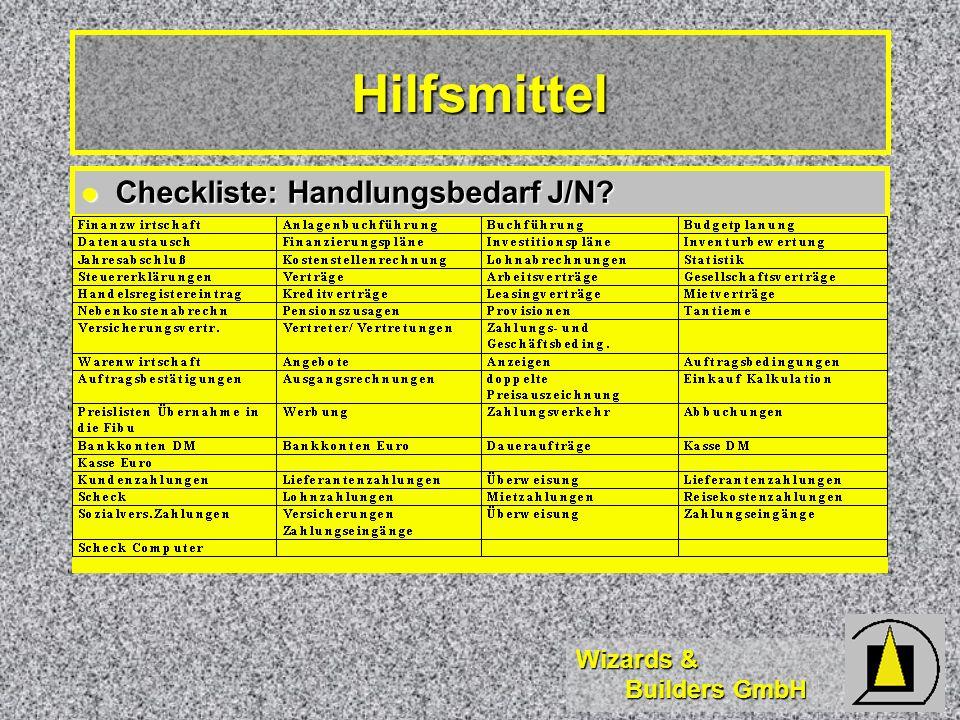 Wizards & Builders GmbH Hilfsmittel Checkliste: Handlungsbedarf J/N.