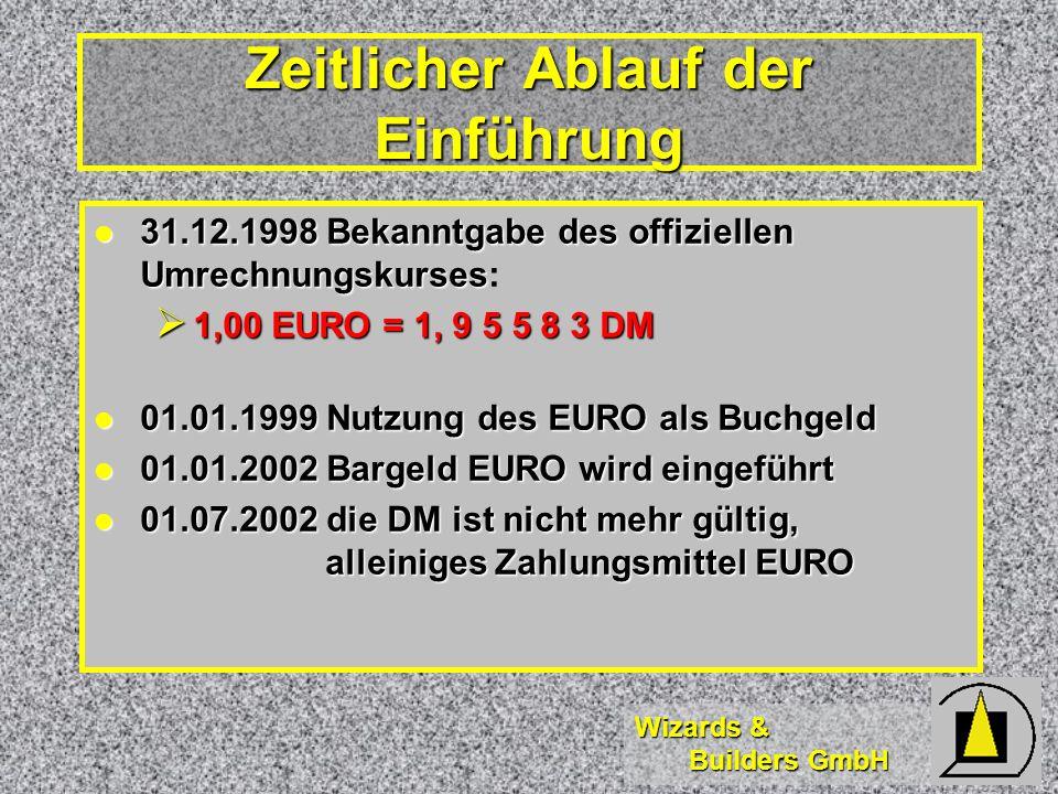 Wizards & Builders GmbH 31.12.1998 Bekanntgabe des offiziellen Umrechnungskurses 31.12.1998 Bekanntgabe des offiziellen Umrechnungskurses: 1,00 EURO = 1, 9 5 5 8 3 DM 1,00 EURO = 1, 9 5 5 8 3 DM 01.01.1999 Nutzung des EURO als Buchgeld 01.01.1999 Nutzung des EURO als Buchgeld 01.01.2002 Bargeld EURO wird eingeführt 01.01.2002 Bargeld EURO wird eingeführt 01.07.2002 die DM ist nicht mehr gültig, alleiniges Zahlungsmittel EURO 01.07.2002 die DM ist nicht mehr gültig, alleiniges Zahlungsmittel EURO Zeitlicher Ablauf der Einführung