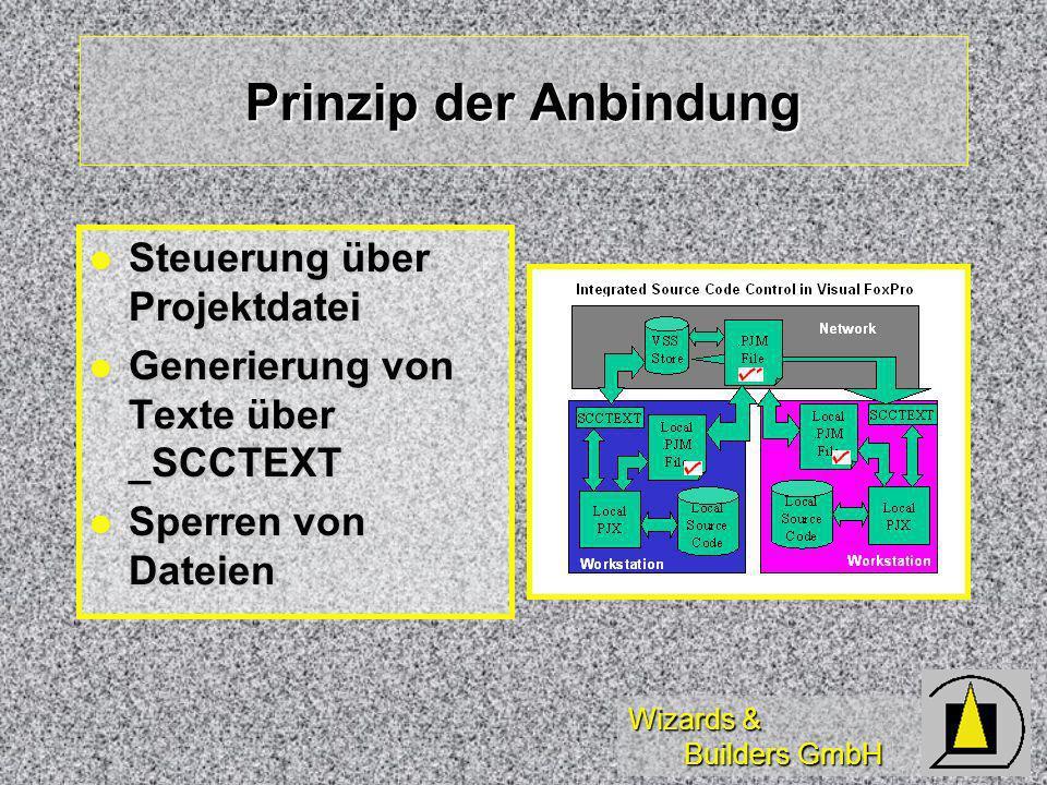 Wizards & Builders GmbH Prinzip der Anbindung Steuerung über Projektdatei Steuerung über Projektdatei Generierung von Texte über _SCCTEXT Generierung von Texte über _SCCTEXT Sperren von Dateien Sperren von Dateien