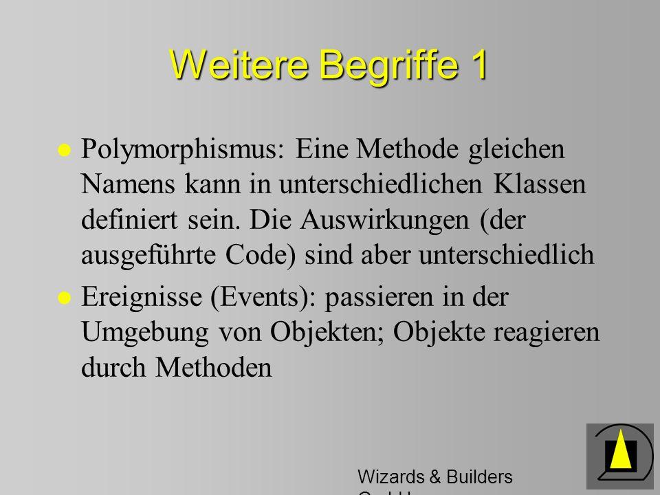 Wizards & Builders GmbH Weitere Begriffe 1 l Polymorphismus: Eine Methode gleichen Namens kann in unterschiedlichen Klassen definiert sein.