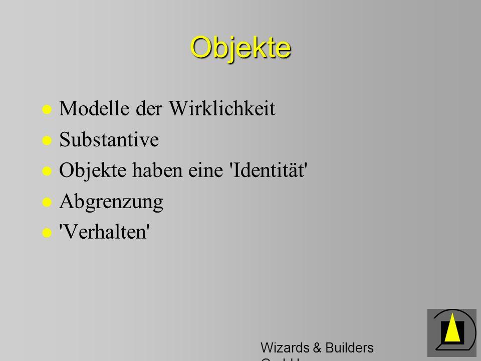 Wizards & Builders GmbH Objekte l Modelle der Wirklichkeit l Substantive l Objekte haben eine Identität l Abgrenzung l Verhalten
