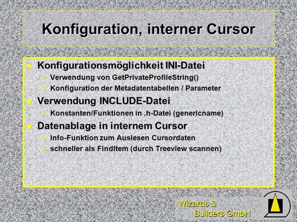 Wizards & Builders GmbH Konfiguration, interner Cursor Konfigurationsmöglichkeit INI-Datei Konfigurationsmöglichkeit INI-Datei Verwendung von GetPriva