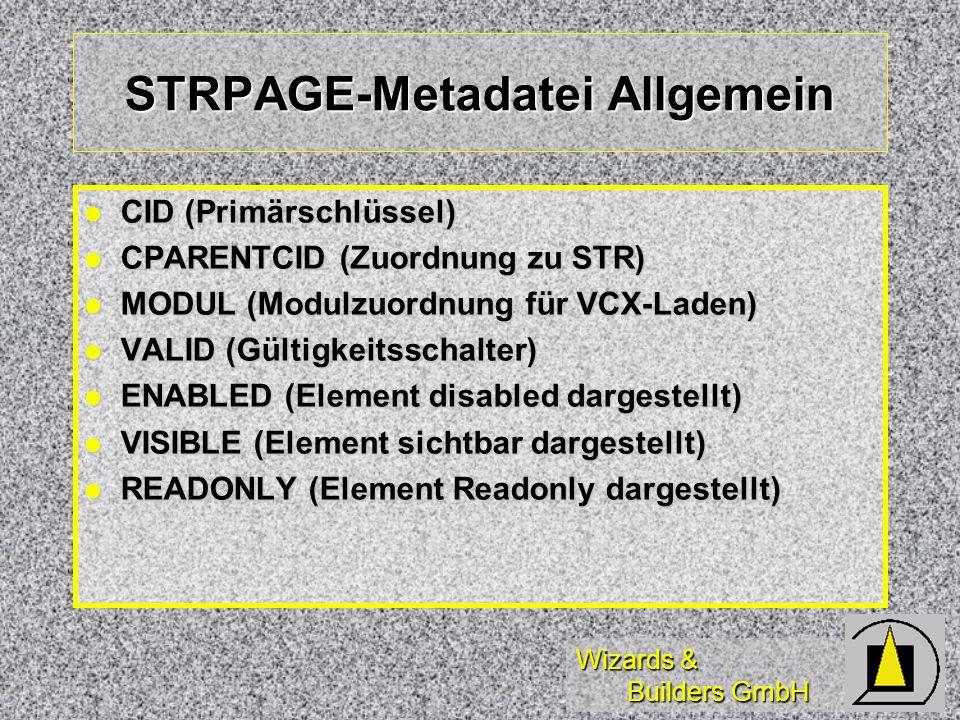 Wizards & Builders GmbH STRPAGE-Metadatei Allgemein CID (Primärschlüssel) CID (Primärschlüssel) CPARENTCID (Zuordnung zu STR) CPARENTCID (Zuordnung zu