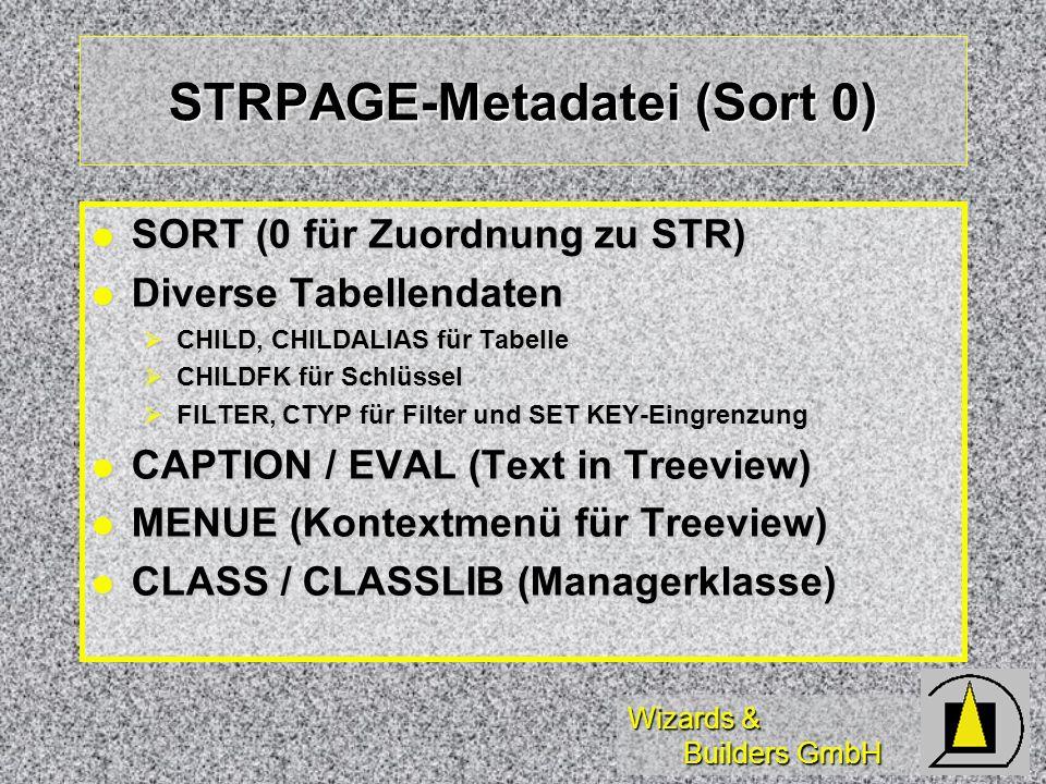 Wizards & Builders GmbH STRPAGE-Metadatei (Sort 0) SORT (0 für Zuordnung zu STR) SORT (0 für Zuordnung zu STR) Diverse Tabellendaten Diverse Tabellend