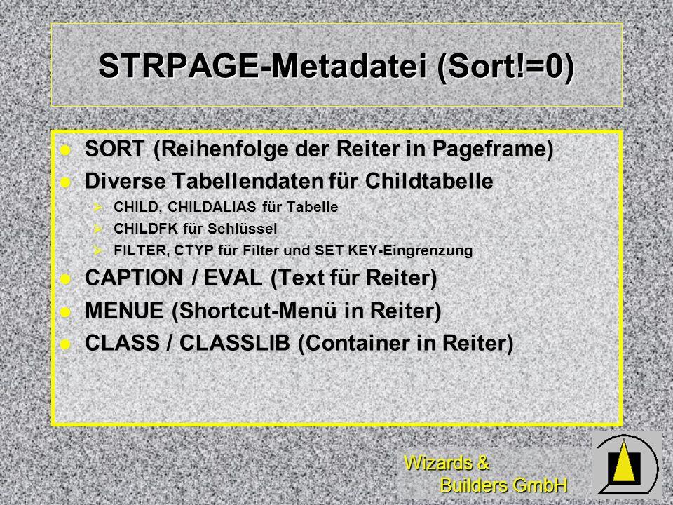 Wizards & Builders GmbH STRPAGE-Metadatei (Sort!=0) SORT (Reihenfolge der Reiter in Pageframe) SORT (Reihenfolge der Reiter in Pageframe) Diverse Tabe