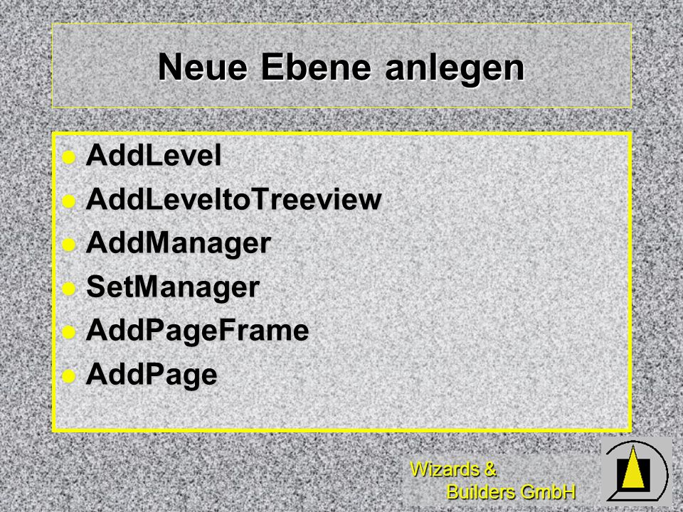 Wizards & Builders GmbH Neue Ebene anlegen AddLevel AddLevel AddLeveltoTreeview AddLeveltoTreeview AddManager AddManager SetManager SetManager AddPage