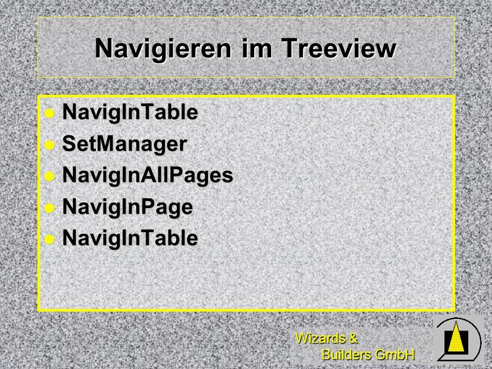 Wizards & Builders GmbH Navigieren im Treeview NavigInTable NavigInTable SetManager SetManager NavigInAllPages NavigInAllPages NavigInPage NavigInPage