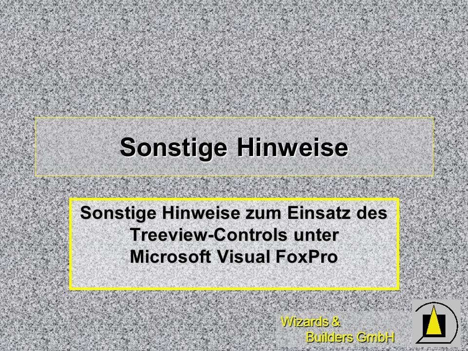 Wizards & Builders GmbH Sonstige Hinweise Sonstige Hinweise zum Einsatz des Treeview-Controls unter Microsoft Visual FoxPro