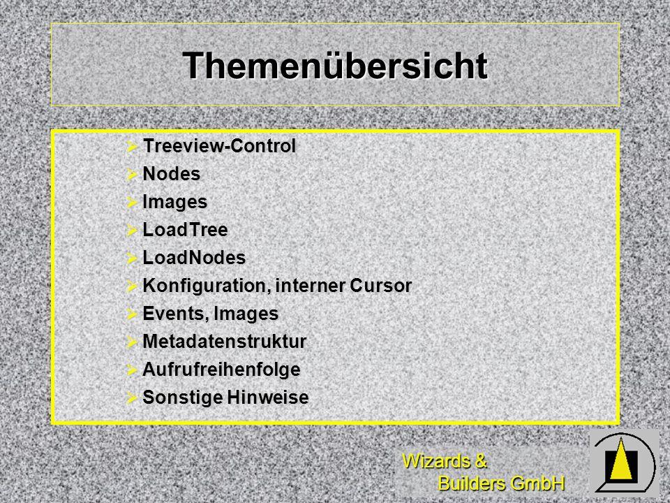 Wizards & Builders GmbH Konfiguration, interner Cursor Konfigurationsmöglichkeit INI-Datei Konfigurationsmöglichkeit INI-Datei Verwendung von GetPrivateProfileString() Verwendung von GetPrivateProfileString() Konfiguration der Metadatentabellen / Parameter Konfiguration der Metadatentabellen / Parameter Verwendung INCLUDE-Datei Verwendung INCLUDE-Datei Konstanten/Funktionen in.h-Datei (genericname) Konstanten/Funktionen in.h-Datei (genericname) Datenablage in internem Cursor Datenablage in internem Cursor Info-Funktion zum Auslesen Cursordaten Info-Funktion zum Auslesen Cursordaten schneller als FindItem (durch Treeview scannen) schneller als FindItem (durch Treeview scannen)