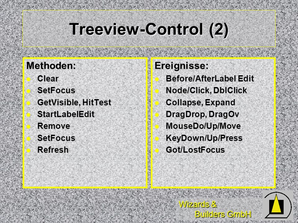 Wizards & Builders GmbH Treeview-Control (2) Methoden: Clear Clear SetFocus SetFocus GetVisible, HitTest GetVisible, HitTest StartLabelEdit StartLabel