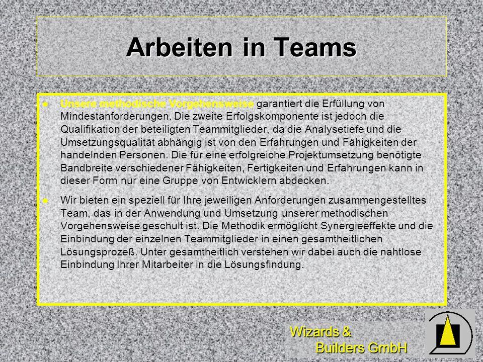 Wizards & Builders GmbH Arbeiten in Teams Unsere methodische Vorgehensweise garantiert die Erfüllung von Mindestanforderungen. Die zweite Erfolgskompo