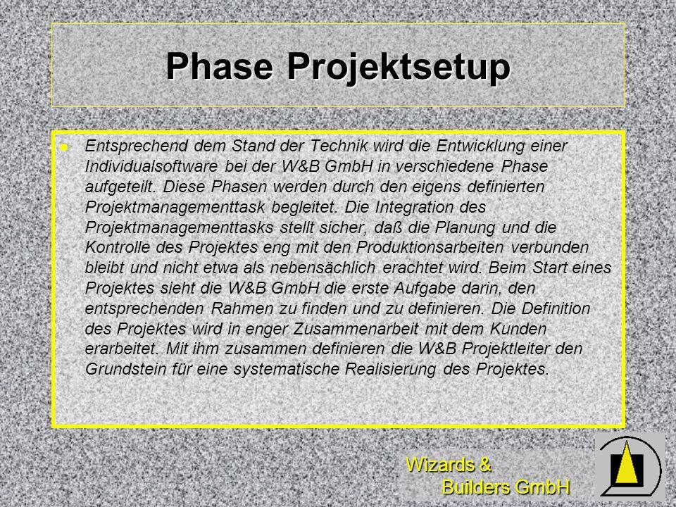 Wizards & Builders GmbH Phase Projektsetup Entsprechend dem Stand der Technik wird die Entwicklung einer Individualsoftware bei der W&B GmbH in verschiedene Phase aufgeteilt.