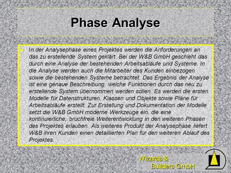 Wizards & Builders GmbH Phase Analyse In der Analysephase eines Projektes werden die Anforderungen an das zu erstellende System geklärt. Bei der W&B G