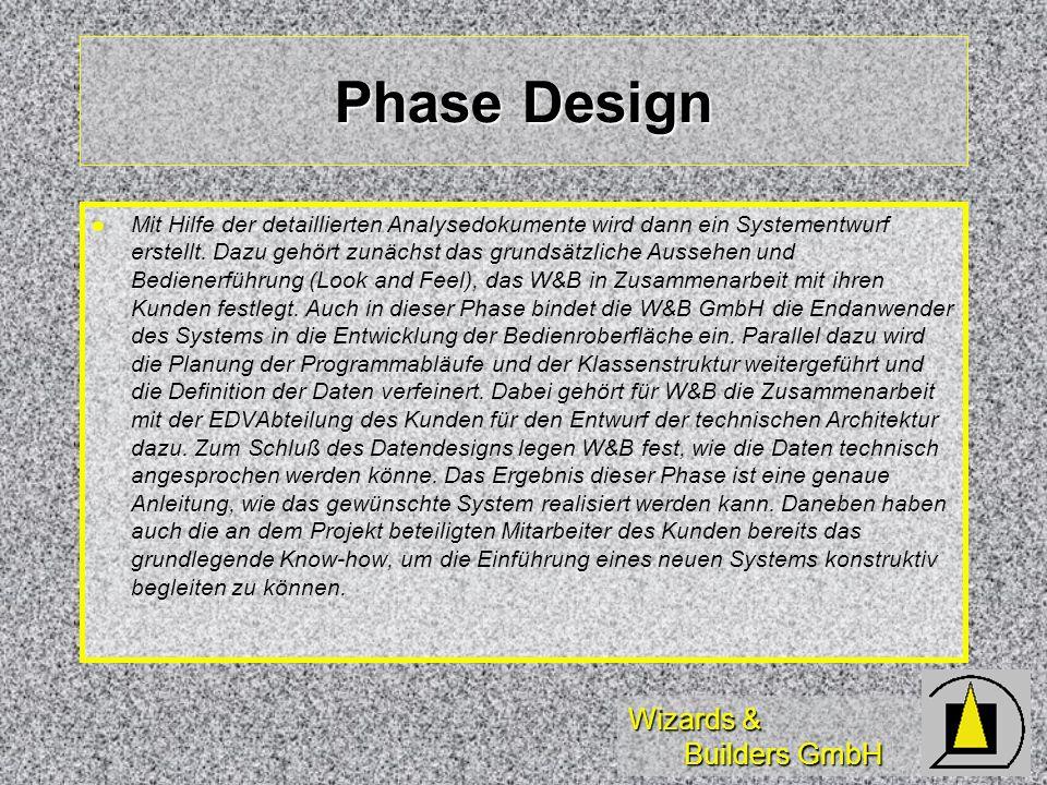 Wizards & Builders GmbH Phase Design Mit Hilfe der detaillierten Analysedokumente wird dann ein Systementwurf erstellt. Dazu gehört zunächst das grund