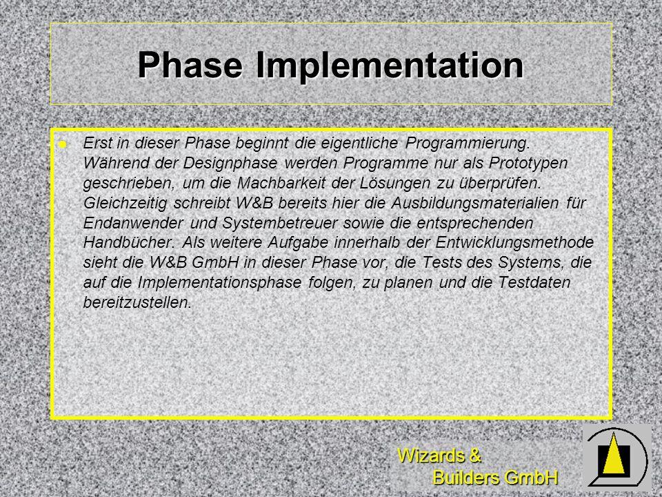 Wizards & Builders GmbH Phase Implementation Erst in dieser Phase beginnt die eigentliche Programmierung. Während der Designphase werden Programme nur