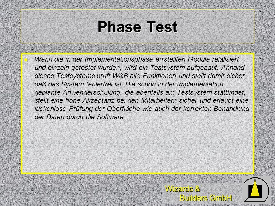 Wizards & Builders GmbH Phase Test Wenn die in der Implementationsphase errstellten Module relalisiert und einzeln getestet wurden, wird ein Testsystem aufgebaut.