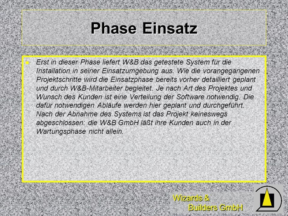 Wizards & Builders GmbH Phase Einsatz Erst in dieser Phase liefert W&B das getestete System für die Installation in seiner Einsatzumgebung aus. Wie di