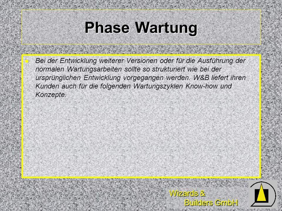Wizards & Builders GmbH Phase Wartung Bei der Entwicklung weiterer Versionen oder für die Ausführung der normalen Wartungsarbeiten sollte so strukturiert wie bei der ursprünglichen Entwicklung vorgegangen werden.