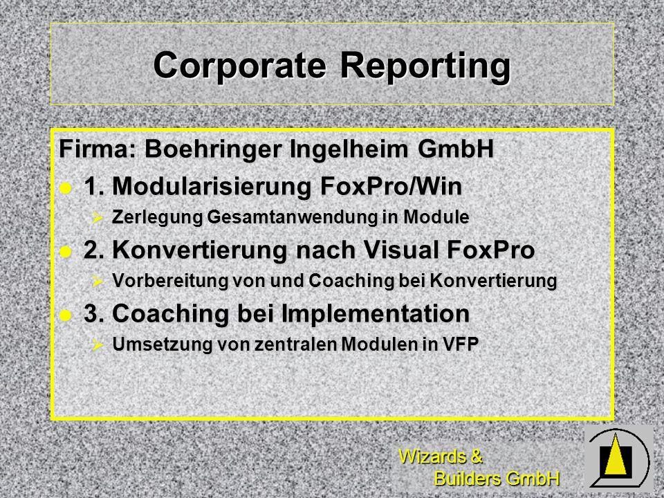 Wizards & Builders GmbH Corporate Reporting Firma: Boehringer Ingelheim GmbH 1. Modularisierung FoxPro/Win 1. Modularisierung FoxPro/Win Zerlegung Ges