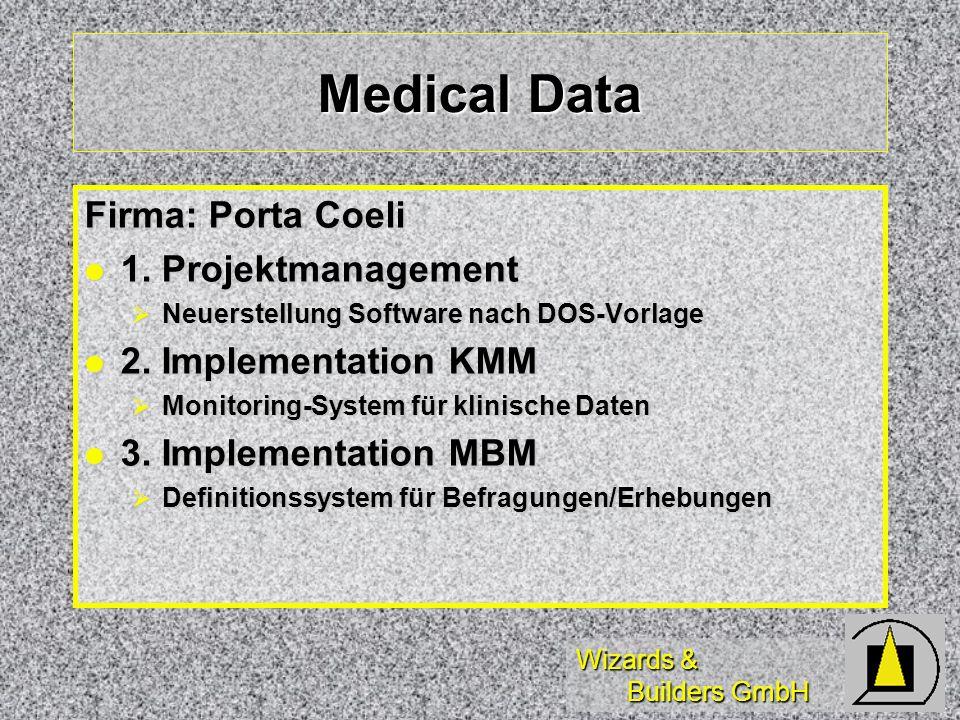 Wizards & Builders GmbH Medical Data Firma: Porta Coeli 1. Projektmanagement 1. Projektmanagement Neuerstellung Software nach DOS-Vorlage Neuerstellun