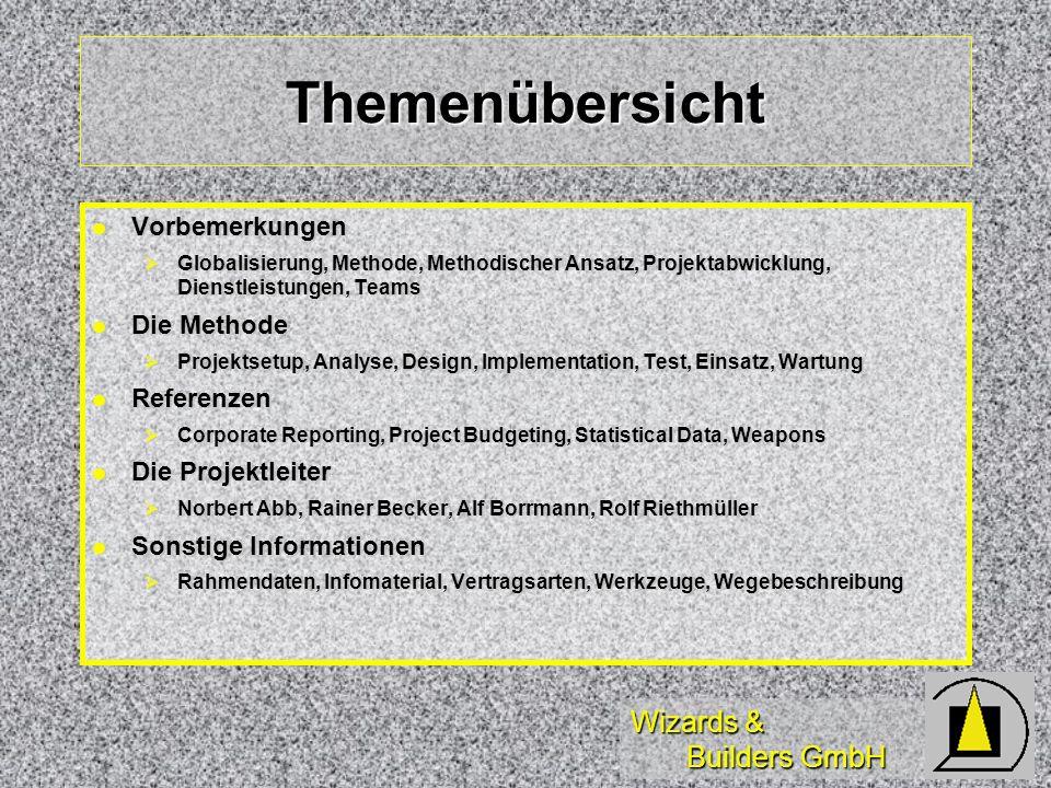 Wizards & Builders GmbH Themenübersicht Vorbemerkungen Vorbemerkungen Globalisierung, Methode, Methodischer Ansatz, Projektabwicklung, Dienstleistunge