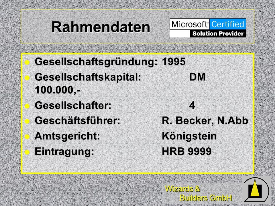 Rahmendaten Gesellschaftsgründung:1995 Gesellschaftsgründung:1995 Gesellschaftskapital:DM 100.000,- Gesellschaftskapital:DM 100.000,- Gesellschafter:4 Gesellschafter:4 Geschäftsführer: R.