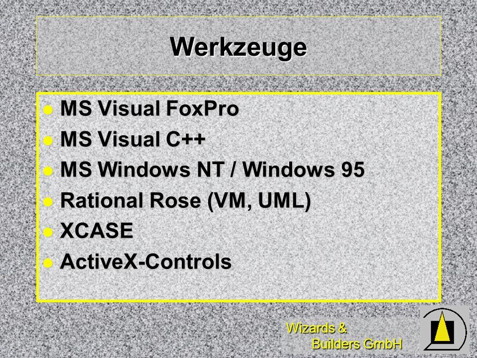 Wizards & Builders GmbH Werkzeuge MS Visual FoxPro MS Visual FoxPro MS Visual C++ MS Visual C++ MS Windows NT / Windows 95 MS Windows NT / Windows 95 Rational Rose (VM, UML) Rational Rose (VM, UML) XCASE XCASE ActiveX-Controls ActiveX-Controls