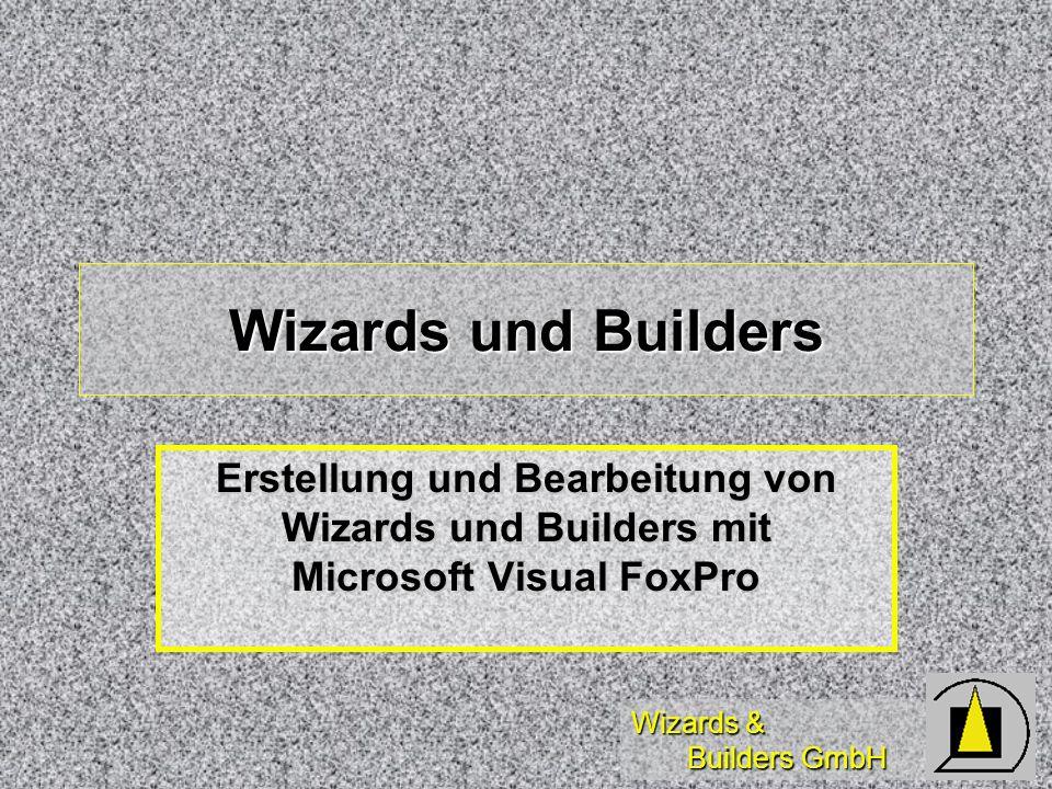 Wizards & Builders GmbH Mitgelieferte Builder (1) Option Group Option Group Anzahl, Layout Std/Graf., Ausrichtung horiz./vert., Abstände, Rahmenstilf, Datenquelle Anzahl, Layout Std/Graf., Ausrichtung horiz./vert., Abstände, Rahmenstilf, Datenquelle Listbox Listbox Rowsource, 3D, Größe, inkrementell, Spaltenlayout, Rückgabequelle, Datenquelle Rowsource, 3D, Größe, inkrementell, Spaltenlayout, Rückgabequelle, Datenquelle Grid Grid Quelle, Anzeigestil, Spaltenlayout, Spaltenkontrolle, Relation Quelle, Anzeigestil, Spaltenlayout, Spaltenkontrolle, Relation Formular Formular Anzeigestil, hor./vert.
