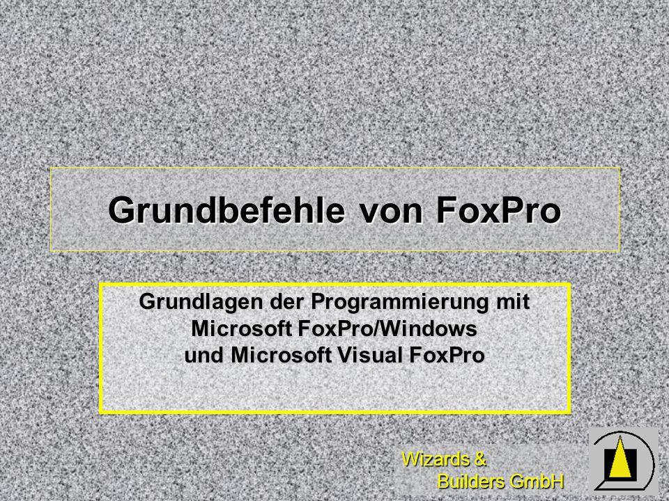 Wizards & Builders GmbH Grundbefehle von FoxPro Grundlagen der Programmierung mit Microsoft FoxPro/Windows und Microsoft Visual FoxPro