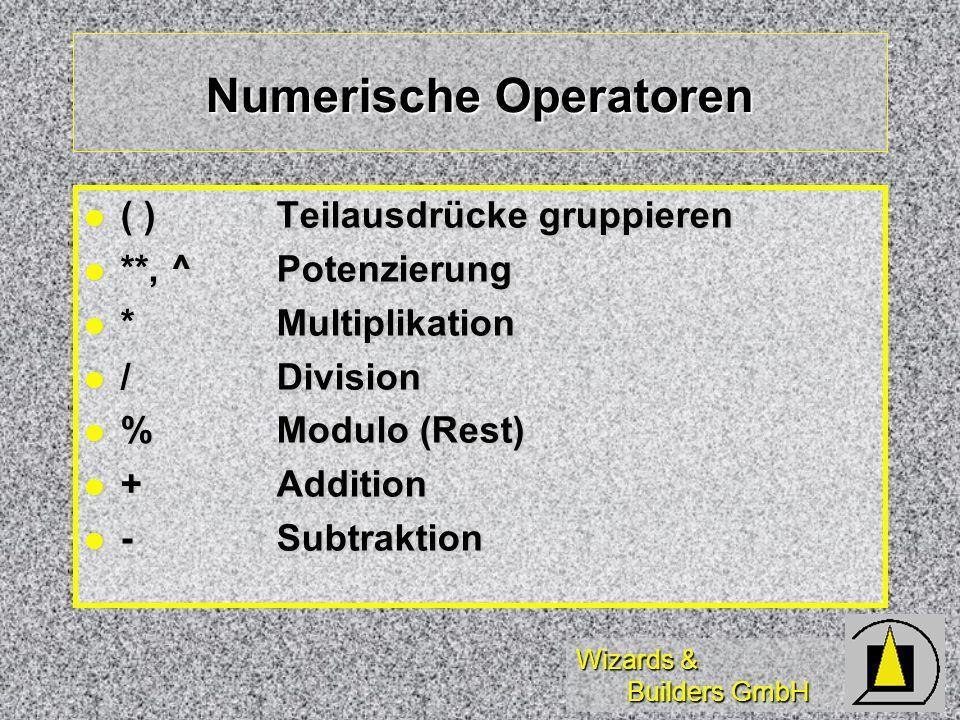 Wizards & Builders GmbH Variablen/Namenskonventionen (1) Character / ZeichenPrefix: c© Character / ZeichenPrefix: c© Character Binary Character Binary Numeric / ZahlPrefix: n(n) Numeric / ZahlPrefix: n(n) Date / DatumPrefix: d(d) Date / DatumPrefix: d(d) Logical / LogischPrefix: l(l) Logical / LogischPrefix: l(l) Array / MatrixPrefix: a(a) Array / MatrixPrefix: a(a) Memofelder (Char)Prefix: m© Memofelder (Char)Prefix: m© Memo Binary Memo Binary