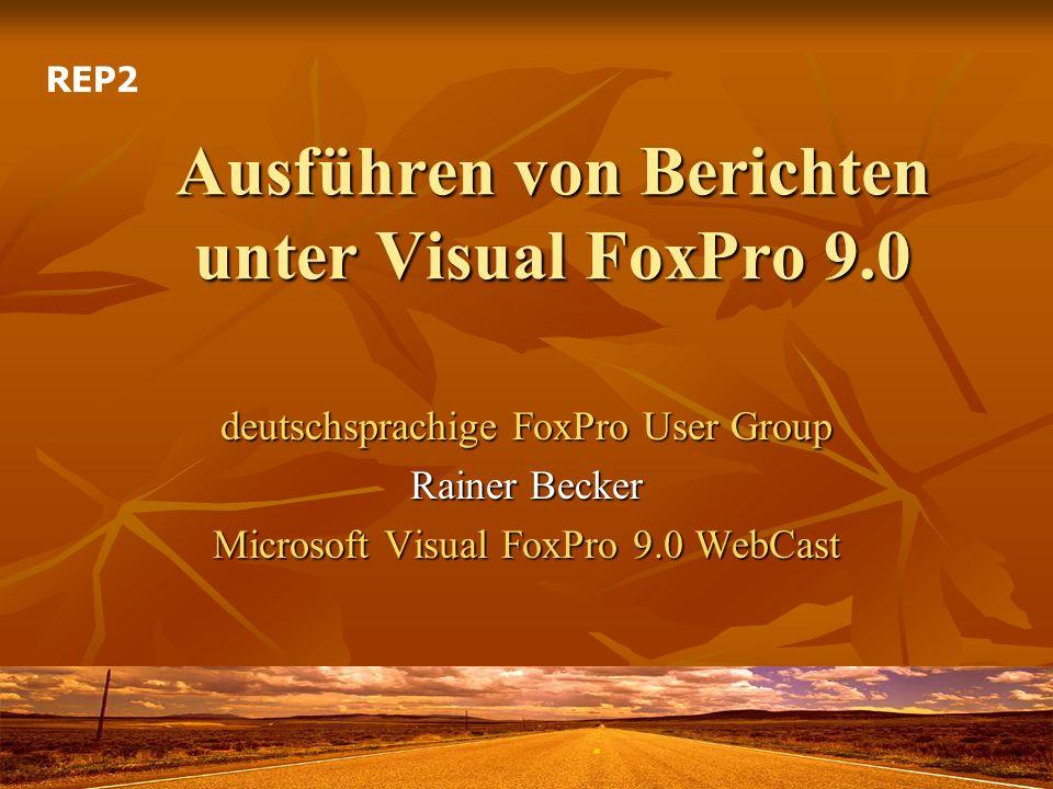 Teil 6: Ausführen von Berichten Mittwoch, 17.8.2005, 16:00 – 17:00 Uhr Mittwoch, 17.8.2005, 16:00 – 17:00 Uhr Die objektorientierte Entwicklungsumgebung und relationale Datenbank Microsoft Visual FoxPro liefert seit jeher eine Vielzahl von Werkzeugen gleich mit.