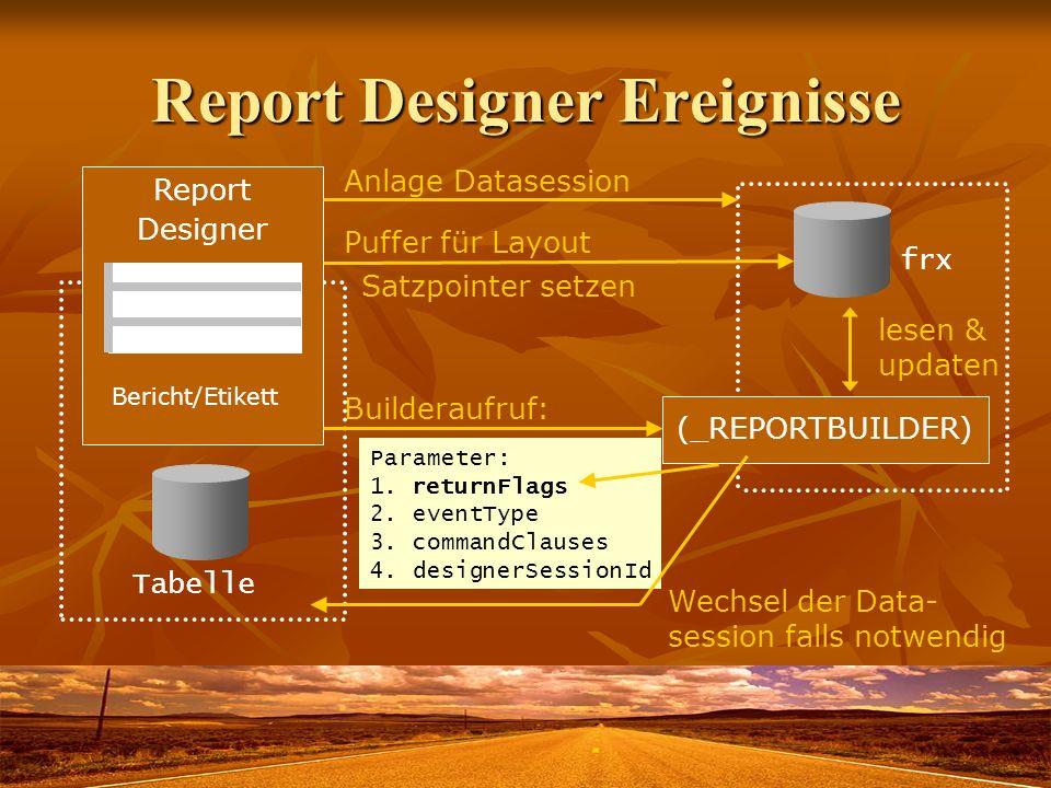Report Designer Ereignisse Report Designer (_REPORTBUILDER) Builderaufruf: Anlage Datasession frx Puffer für Layout Tabelle Parameter: 1. returnFlags