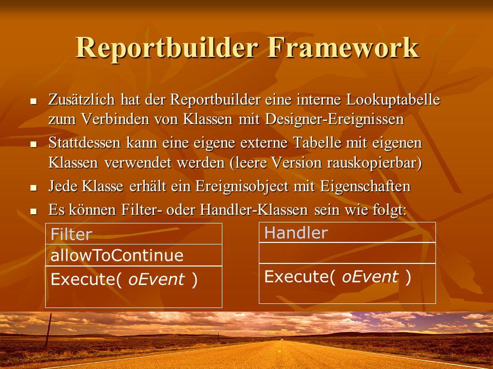 Reportbuilder Framework Zusätzlich hat der Reportbuilder eine interne Lookuptabelle zum Verbinden von Klassen mit Designer-Ereignissen Zusätzlich hat