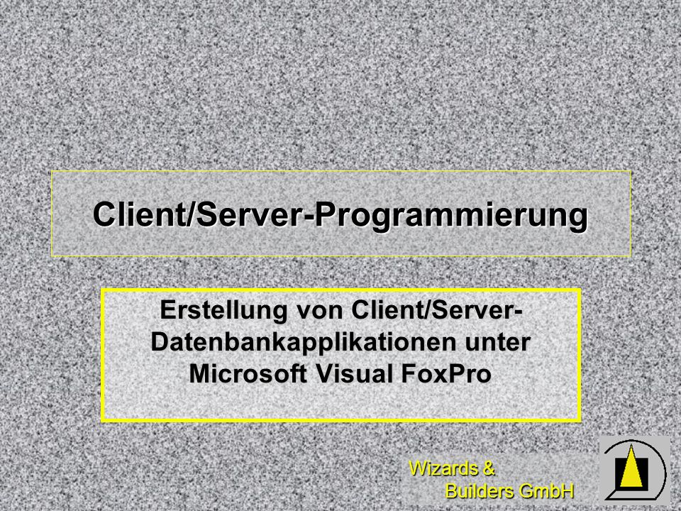 Wizards & Builders GmbH Client/Server-Programmierung Erstellung von Client/Server- Datenbankapplikationen unter Microsoft Visual FoxPro