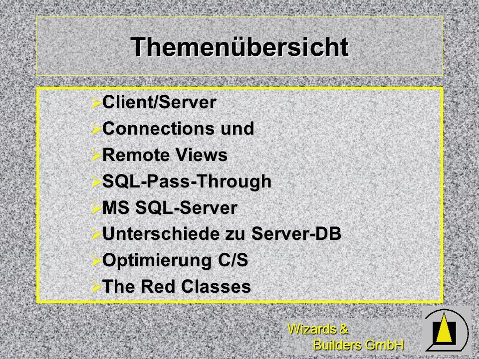Wizards & Builders GmbH Zugriff mit SQL-Passthrough Test der Connection (ODBC-Test) Test der Connection (ODBC-Test) *-- Verbindung herstellen Handle=SQLConnect(data, sa, pwd) *-- Ausführen Abfrage =SQLExec(Handle, SQL, cursor) *-- Arbeiten mit View (Update/Revert) =SQLDisconnect( Handle )