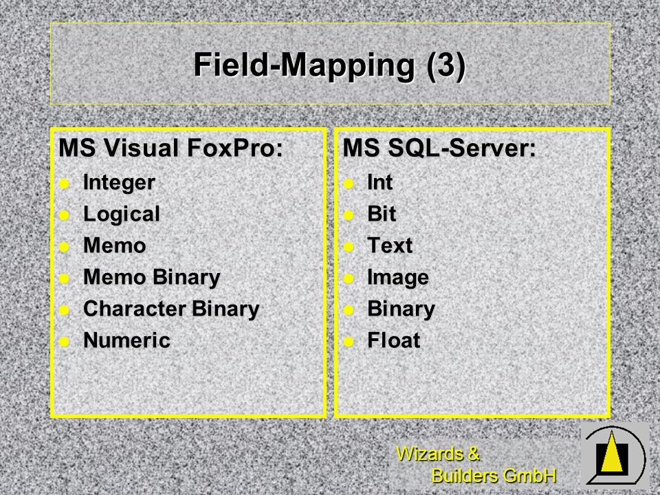 Wizards & Builders GmbH Field-Mapping (3) MS Visual FoxPro: Integer Integer Logical Logical Memo Memo Memo Binary Memo Binary Character Binary Character Binary Numeric Numeric MS SQL-Server: Int Int Bit Bit Text Text Image Image Binary Binary Float Float