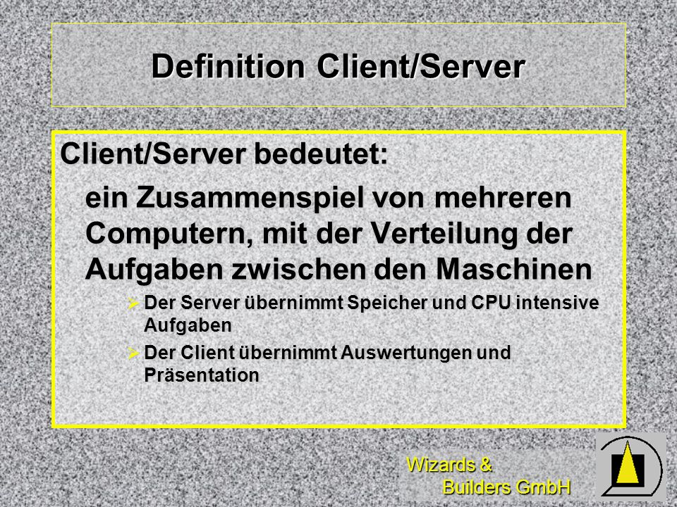 Wizards & Builders GmbH SQL-Statements (3) SQLEXEC( Handle, StoredProcedure) SQLEXEC( Handle, StoredProcedure) SQLEXEC( Handle, Create Proc) SQLEXEC( Handle, Create Proc) myproc as select *, select *, select * / SQLEXEC myproc as select *, select *, select * / SQLEXEC SQLGETPROP( ) SQLGETPROP( ) SQLSETPROP( ) SQLSETPROP( ) AERROR( ) AERROR( )