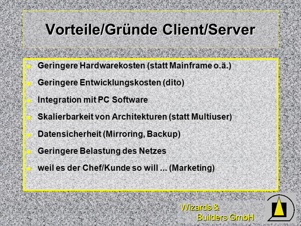 Wizards & Builders GmbH Parameter Aufruf mit Parametern: Aufruf mit Parametern: =SQLExec( Handle, where = ?cVar) =SQLExec( Handle, {CALL sp_test ()}) z.B.